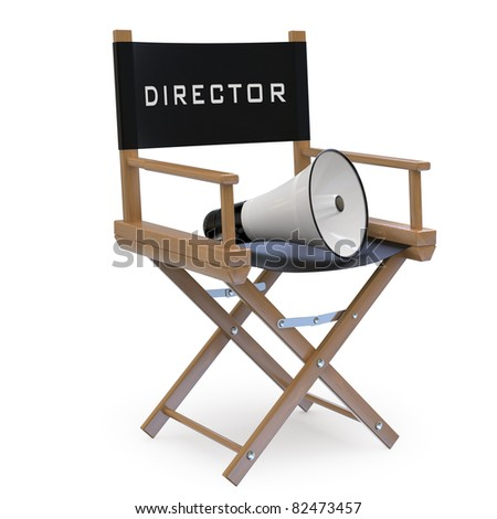 Film director's chair with a megaphone