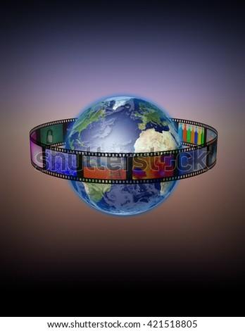 Film Encircled Earth 3D Render - stock photo