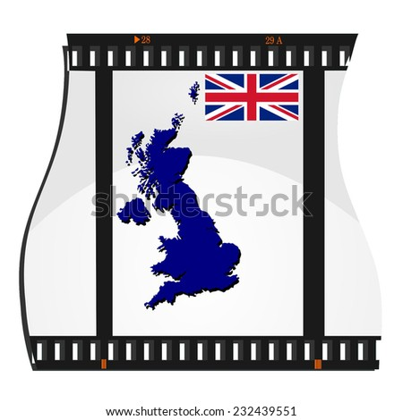 Film frame with a map of Britain - stock photo