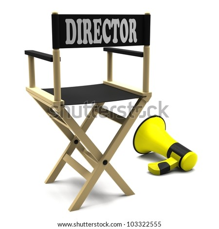 Film industry: directors chair with megaphone