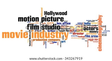 Film industry issues and concepts word cloud illustration. Word collage concept.