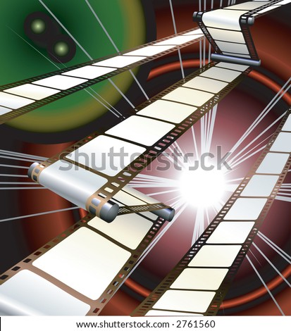 film inside a camera or projector with dynamic background. Raster version - stock photo