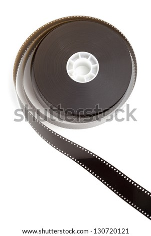 Film, movie reel, isolated on white background - stock photo