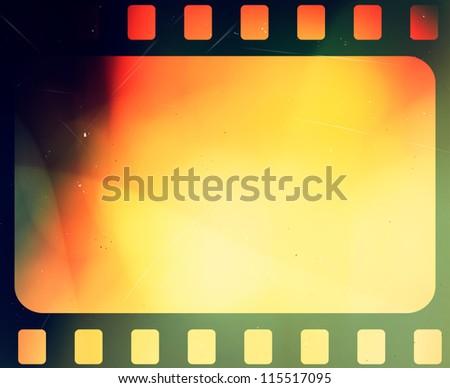 Film negatives frame, copy space - stock photo
