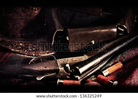 Film Noir. Art vintage hunting backgrounds with old film added texture - stock photo