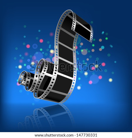 Film on a dark blue background. Illustration. - stock photo
