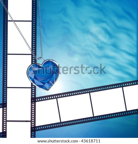 Film on background with blue diamond heart