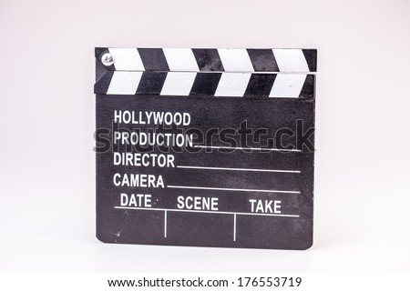 Film or Movie clapper on white background