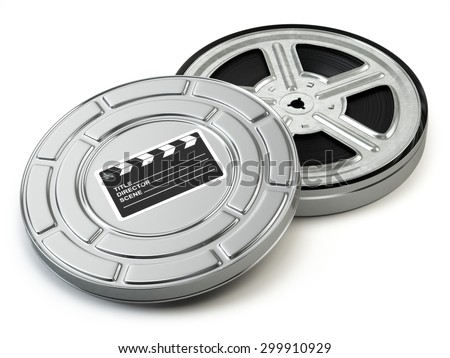 Film reel and box. Video, movie, cinema vintage concept. 3d - stock photo