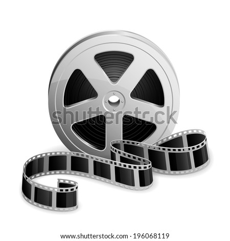 Film reel and twisted cinema tape isolated on white background, illustration. - stock photo