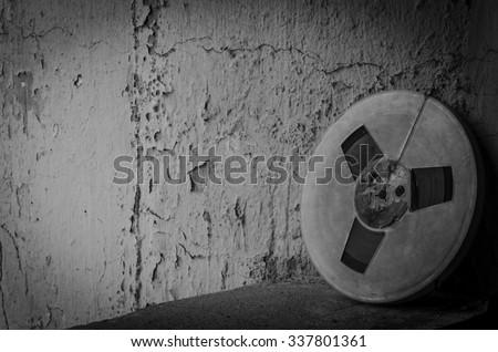 Film reel black and white - stock photo