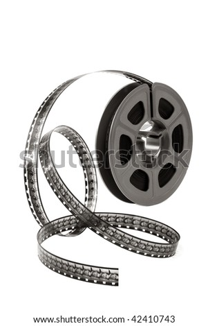Film reel curling over white background.  Home movie time! - stock photo