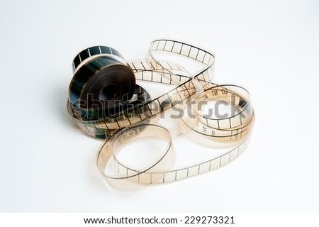 film reel isolated on white background - stock photo
