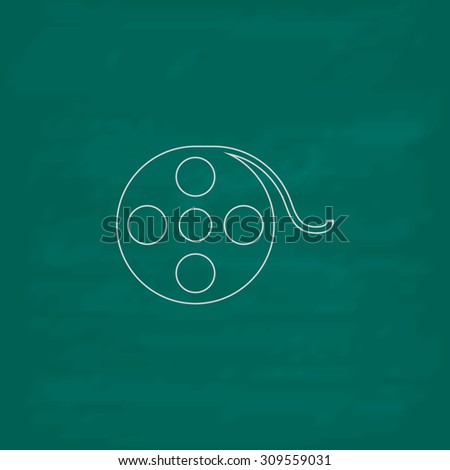 Film reel. Outline icon. Imitation draw with white chalk on green chalkboard. Flat Pictogram and School board background. Illustration symbol - stock photo