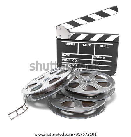 Film reels and movie clapper board. Video icon. 3D render illustration isolated on white background - stock photo