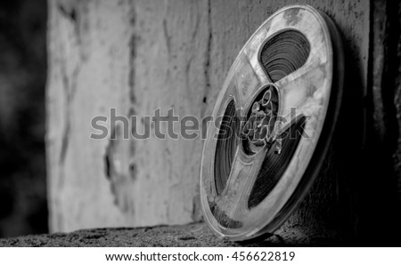 Film reels black and white photography - stock photo