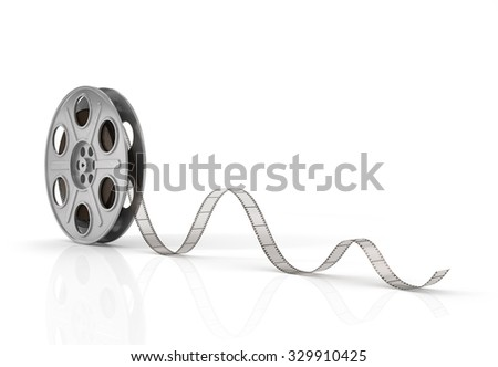 Film reels on a white background.