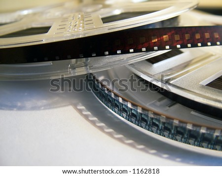 Film reels with film. Movie concept - stock photo