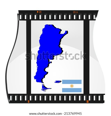 Film shots with a national map of  Argentina  - stock photo