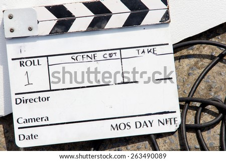 Film Slate on set - stock photo