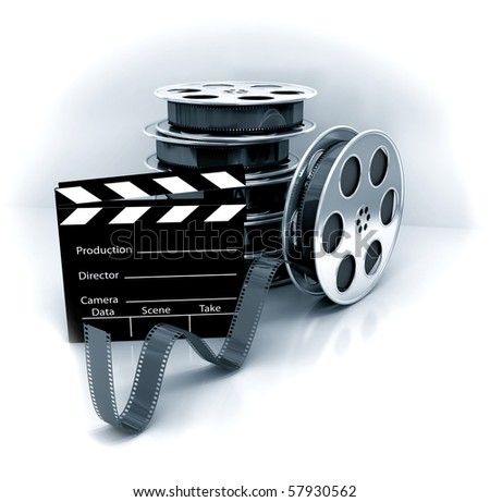 Film Slate with Movie Film Reel. 3d rendered image - stock photo