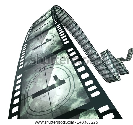 film strip countdown (clipping path and isolated on white) - stock photo