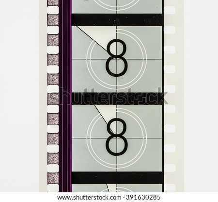 Film strip countdown section on 35mm film - stock photo