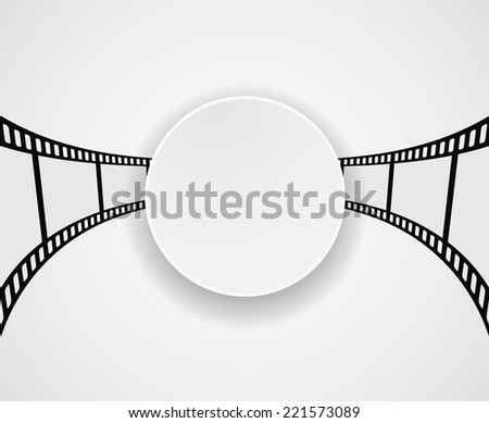 film strip film roll round banner design - stock photo