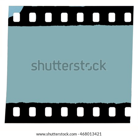 Film strip frame from 35 mm roll with grey photo area isolated on white background