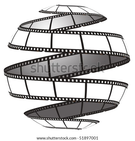 Film strip in a sphere/globe - stock photo