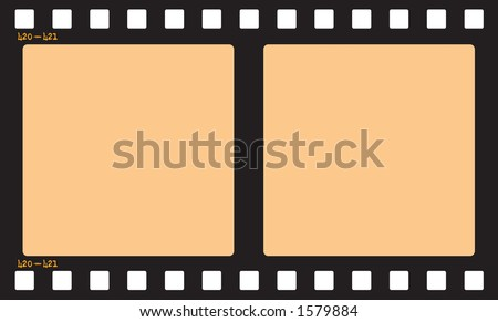 Film Strip.  Includes Clipping Path so you can easily insert pictures and change the opacity of the orange area to give it a film effect. - stock photo