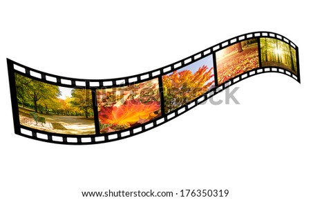 film strip with autumn images (isolated) - stock photo
