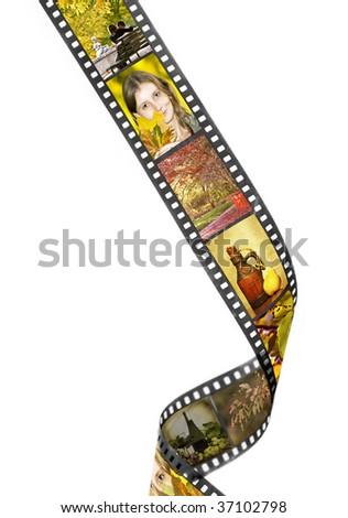Film strip with autumn photos - stock photo