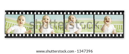 Film Strip with Baby Boy Series - stock photo