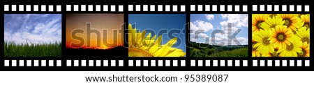 film strip with beautiful nature photos - stock photo