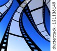 Film strip with blue background, Movie industrial - stock photo