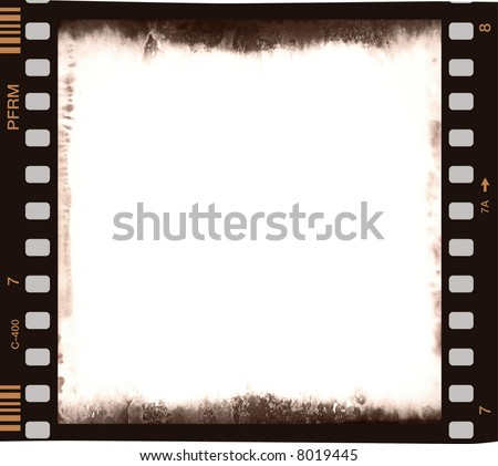 film strip with emulsion delay and corrosion and empty central part 2 - stock photo