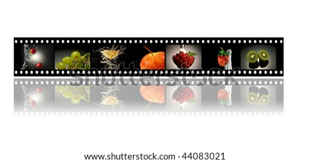 film strip with fruits in black background - stock photo