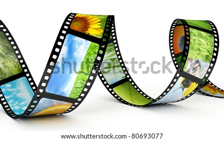 Film strip with images - stock photo