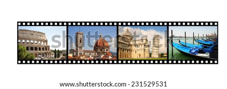 Film strip with Italian pictures - stock photo