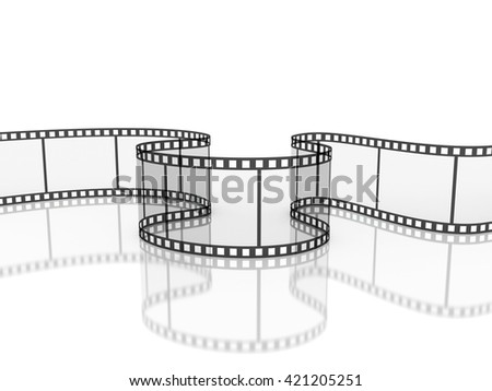 film strip with reflection isolated, 3d illustration - stock photo