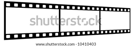 Film Strip With Three Frames, 35mm Format, Perspective, White Background