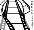 Film strip with white background, Movie industrial - stock photo