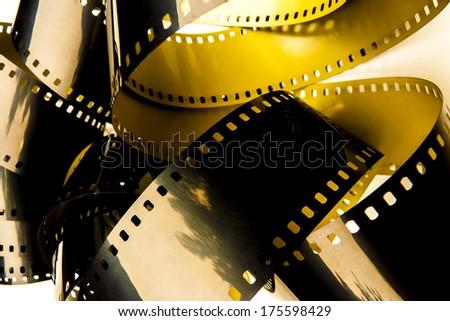 Film strips closeup - stock photo