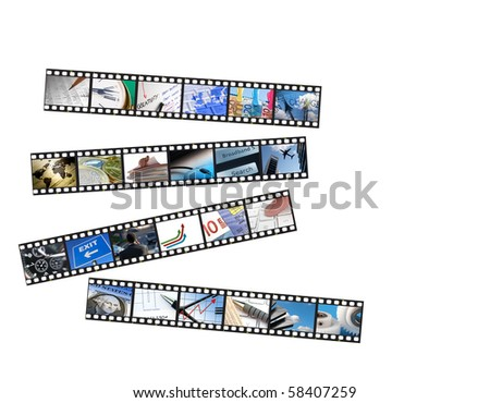 Film strips of business images over white