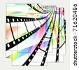 Film Strips On Pictures Abstract Design - stock photo