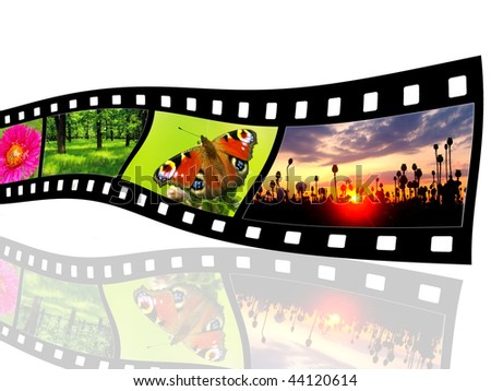 Film strips with nature photos - stock photo