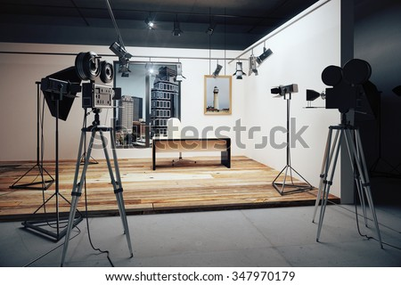 Film studio with cameras and movie equipment 3D Render - stock photo
