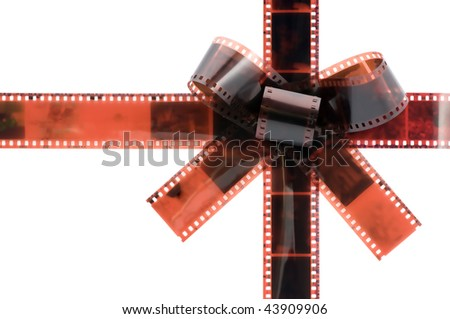 film tape gift bow isolated on white