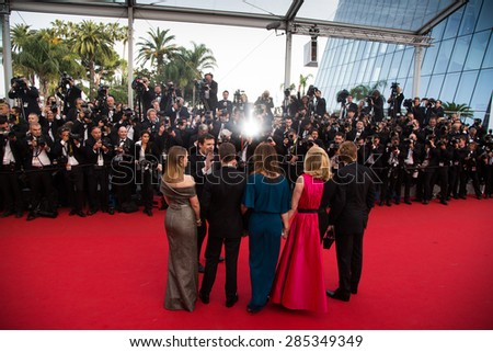 Film team.Opening Ceremony 'La Tete Haute' Premiere. 68th Annual Cannes Film Festival at Palais des Festivals on May 13, 2015 in Cannes, France. - stock photo